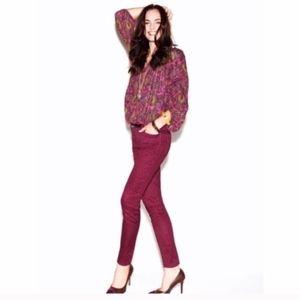 Loft Magenta Paisley Modern Straight Jeans